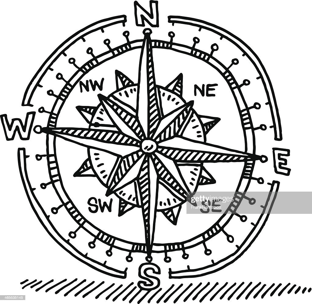 Compass Rose Drawing High-Res Vector Graphic