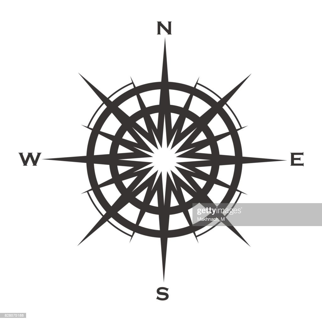 Compass rose icon isolated on white
