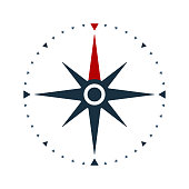 Compass rose icon, wind rose and navigation symbol