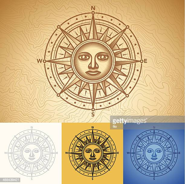 ilustraciones, imágenes clip art, dibujos animados e iconos de stock de rosa de los vientos - sol en la cara