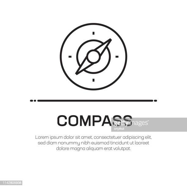 compass vector line icon - simple thin line icon, premium quality design element - exploration stock illustrations