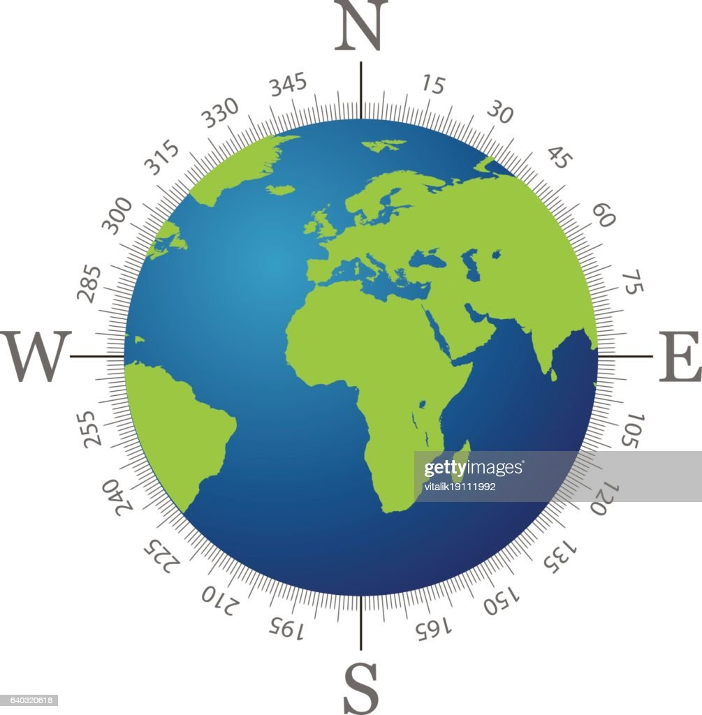 Compass with world map and white background