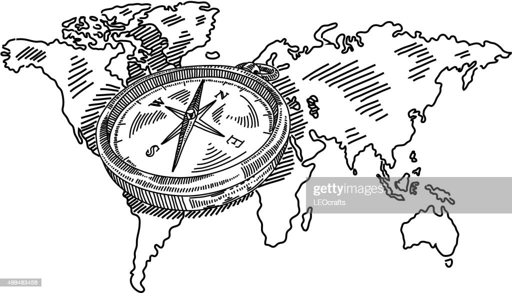 Compass with world map drawing vector art getty images compass with world map drawing vector art gumiabroncs Choice Image