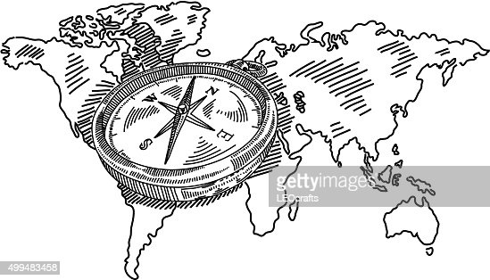 Compass with world map drawing vector art getty images gumiabroncs Images