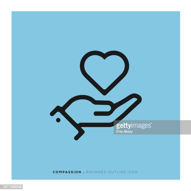 compassion rounded line icon - consoling stock illustrations