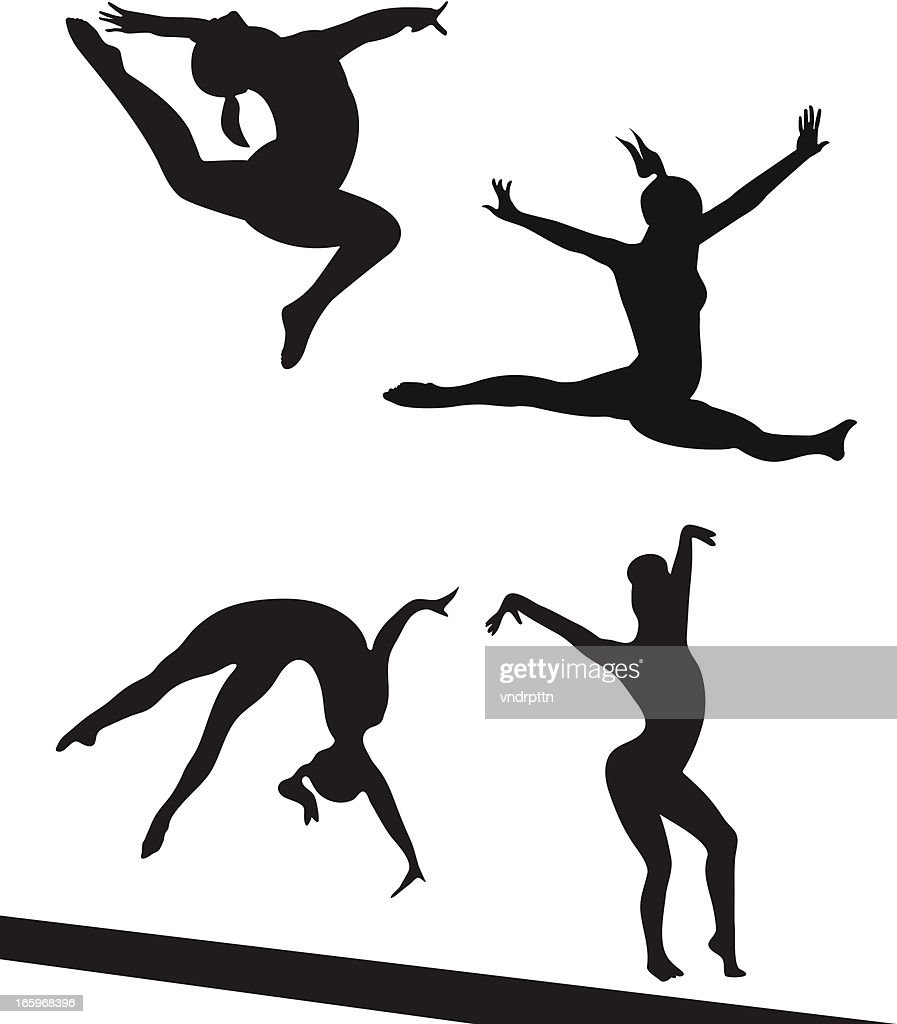 Competing Gymnasts : Stock Illustration