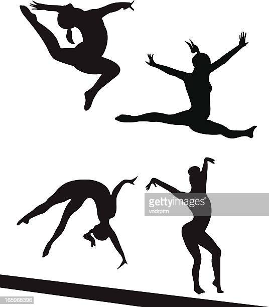 competing gymnasts - gymnastics stock illustrations