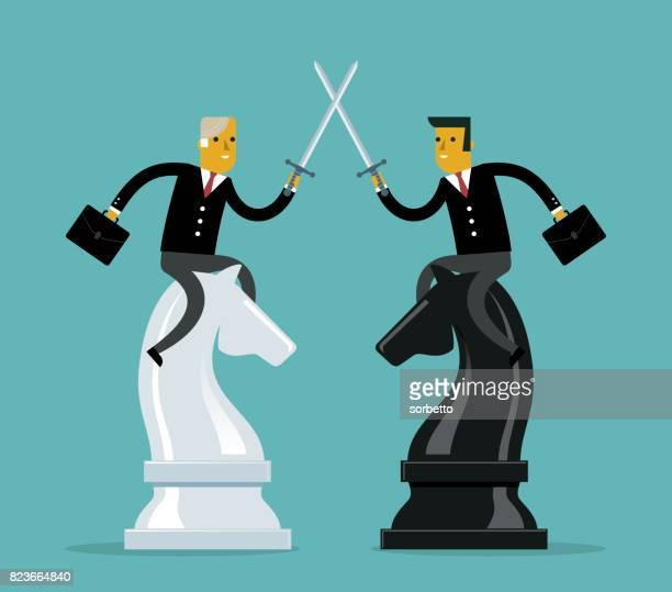 competition business - businessman - assertiveness stock illustrations, clip art, cartoons, & icons