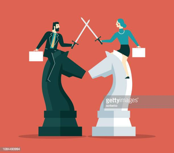 competition business - businesswoman - assertiveness stock illustrations, clip art, cartoons, & icons