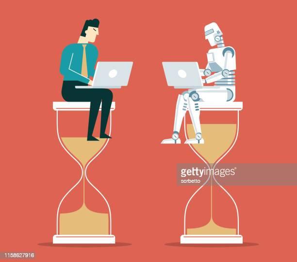 illustrazioni stock, clip art, cartoni animati e icone di tendenza di concorrenza - uomo d'affari - automatizzato