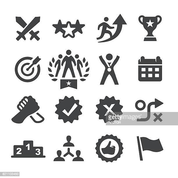 competition icons set - acme series - match sport stock illustrations, clip art, cartoons, & icons