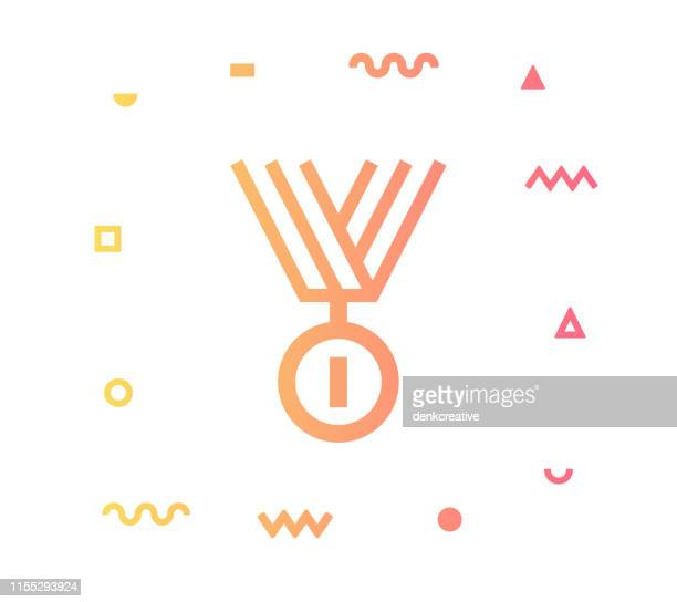competition line style icon design - first second third place stock illustrations