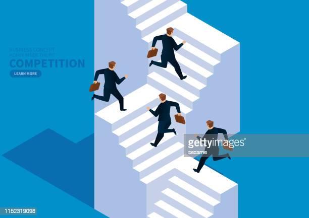 stockillustraties, clipart, cartoons en iconen met concurrentie, handelaren lopen de trap op - hiërarchie