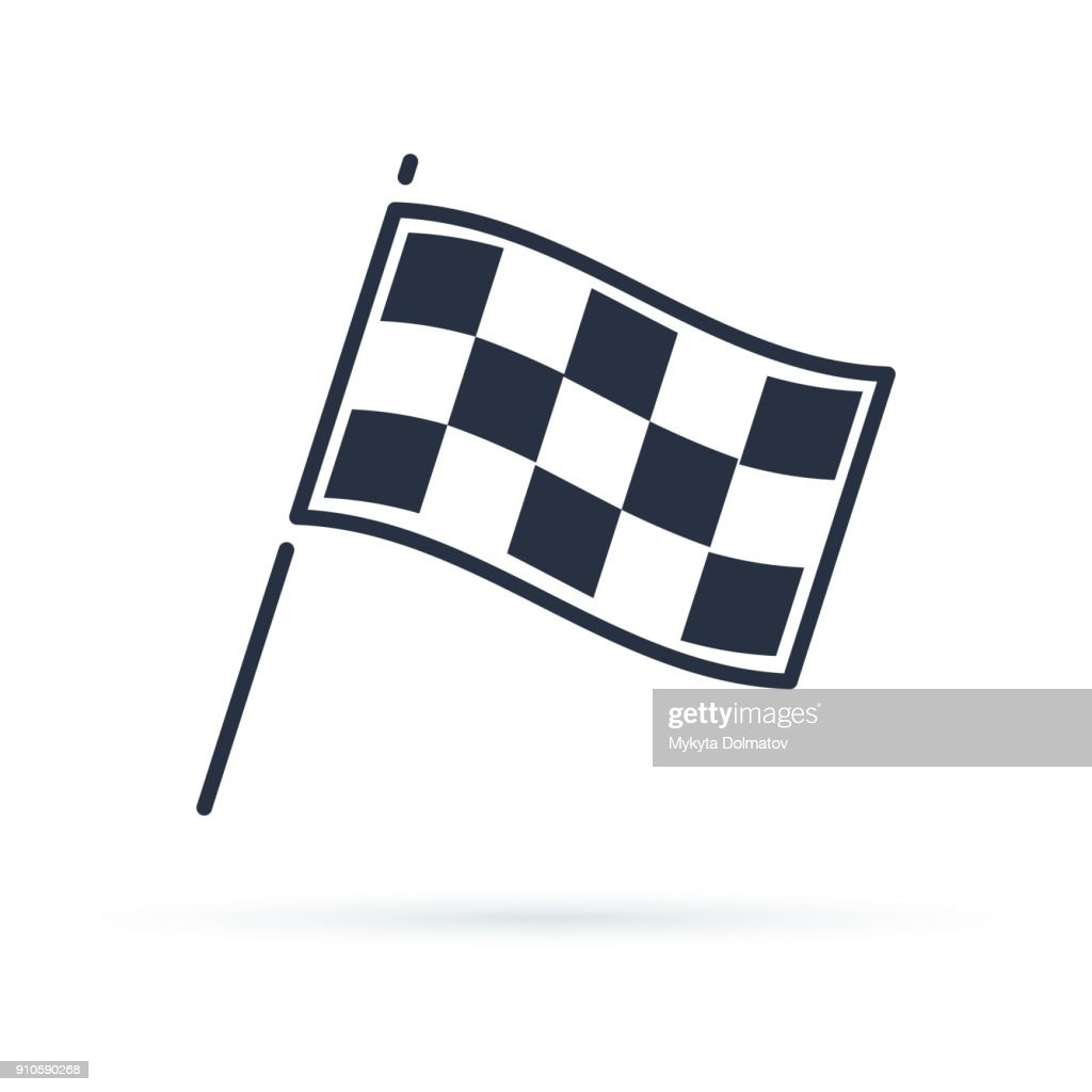 Competition sport flag line vector icon