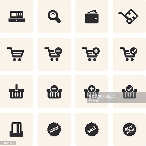 Compilation of black colored shopping icons