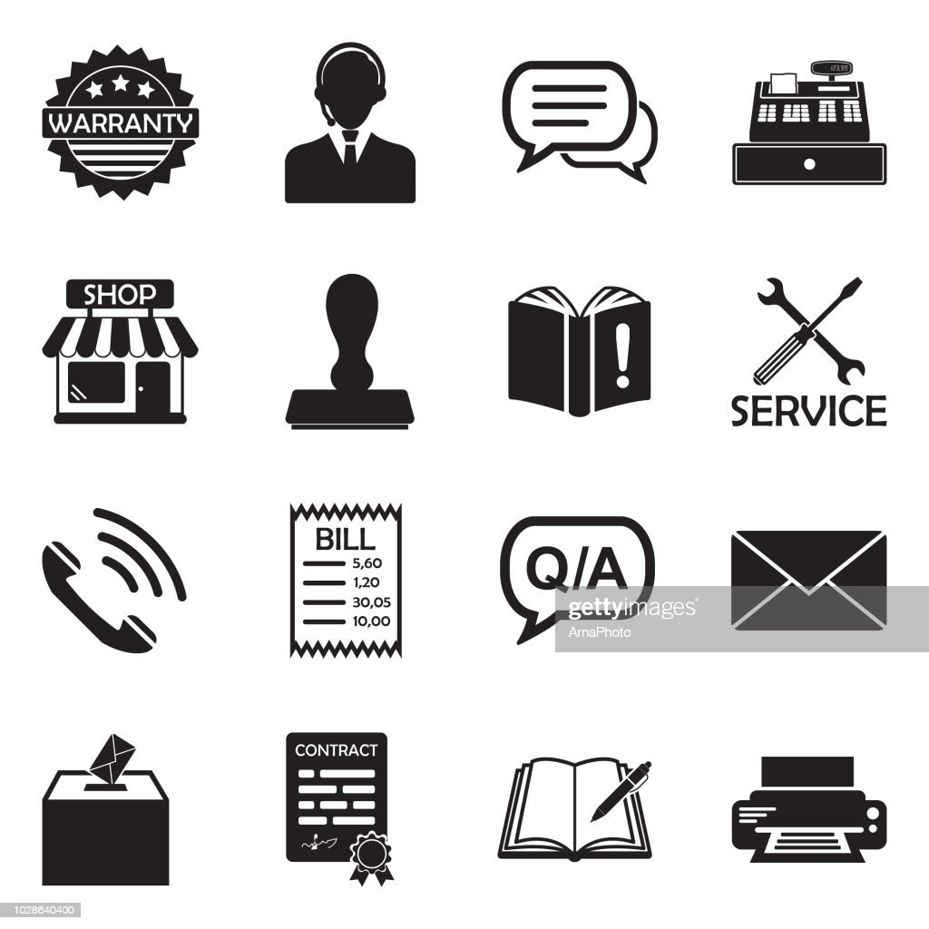 Complaint Icons. Black Flat Design. Vector Illustration.