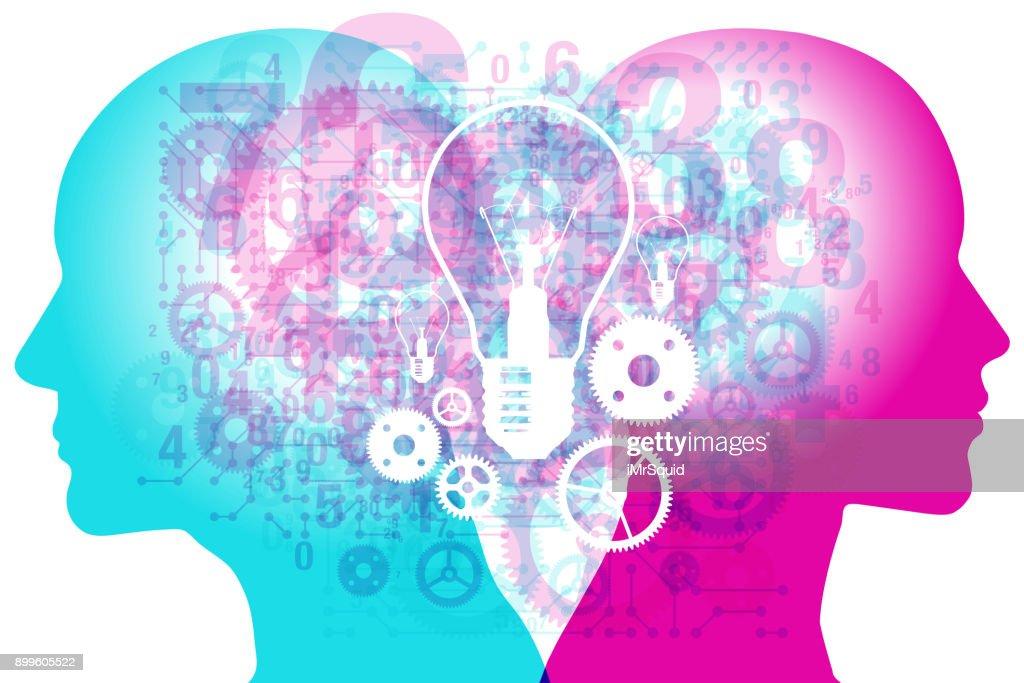 Complete Brainstorming Thinking : Stock Illustration