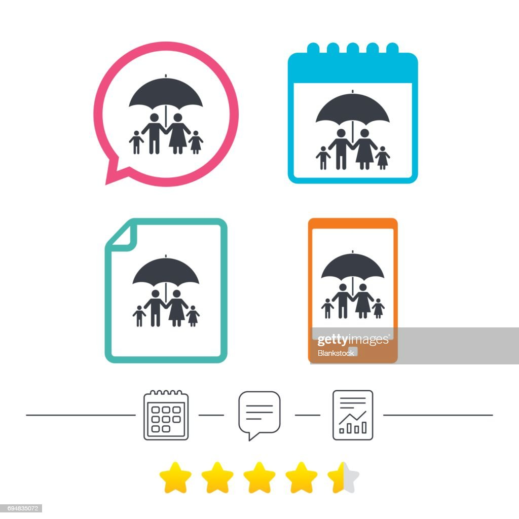 Complete Family Insurance Icon Umbrella Symbol Vector Art Getty Images