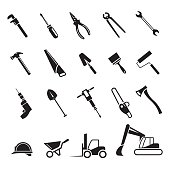 Complete set of icons of tools for home repairs, construction, assembly