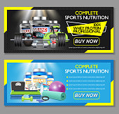 Complete sports nutrition vector banner set