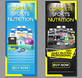 Complete sports nutrition vector banner set