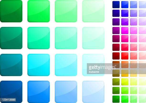 Complete square button sticker set