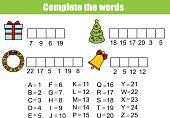 Complete the words children educational game. Christmas, new year theme