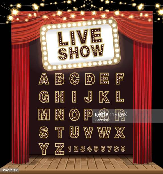 Complete theatre alphabet set with curtain, stage and lit signboard
