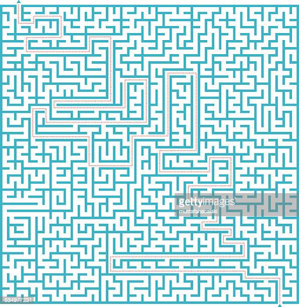 complex blue labyrinth with solution - maze stock illustrations