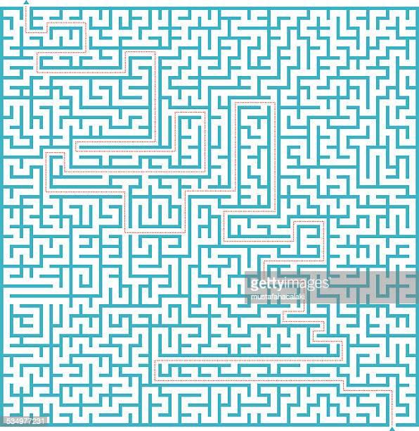 illustrazioni stock, clip art, cartoni animati e icone di tendenza di complesso labirinto con blu soluzione - intrico