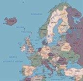 Complex Europe political map.