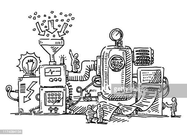 illustrazioni stock, clip art, cartoni animati e icone di tendenza di macchina complessa piccole figure umane disegno - macchinario
