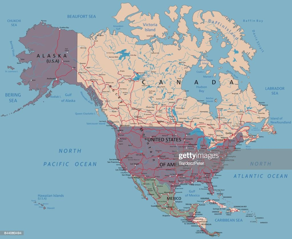 Complex North America Political Map Vector Art Getty Images