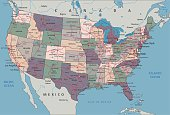 Complex United States of America political map.
