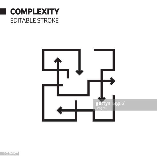 complexity line icon, outline vector symbol illustration. pixel perfect, editable stroke. - complexity stock illustrations