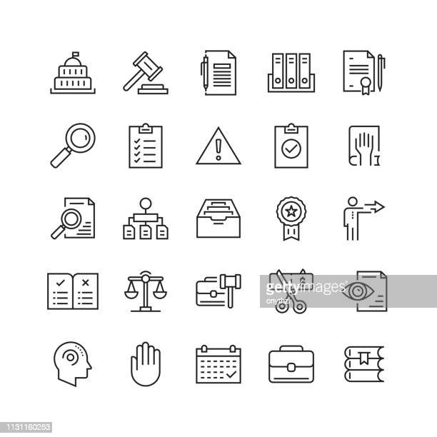 compliance and regulations related vector line icons - confidential stock illustrations