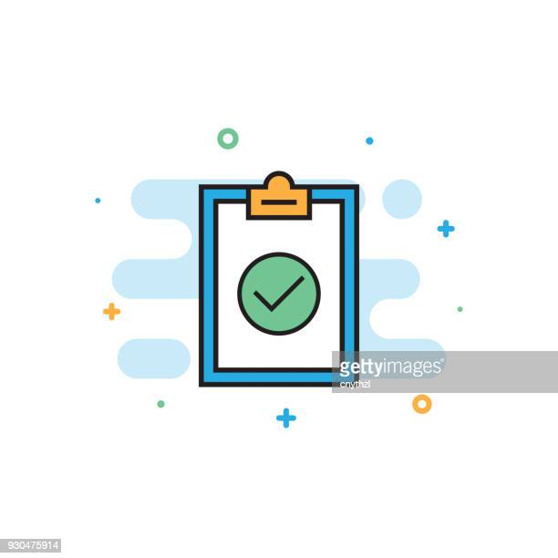 compliance and standards flat line icon - routine stock illustrations
