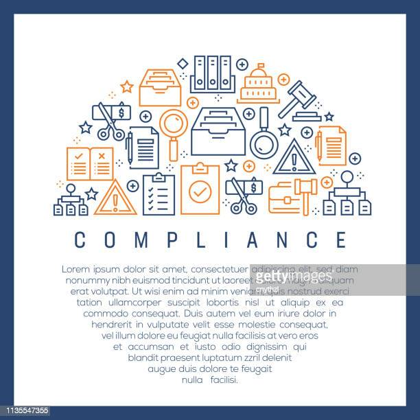 コンプライアンスコンセプト-カラフルなラインアイコン、円でアレンジ - 服従点のイラスト素材/クリップアート素材/マンガ素材/アイコン素材