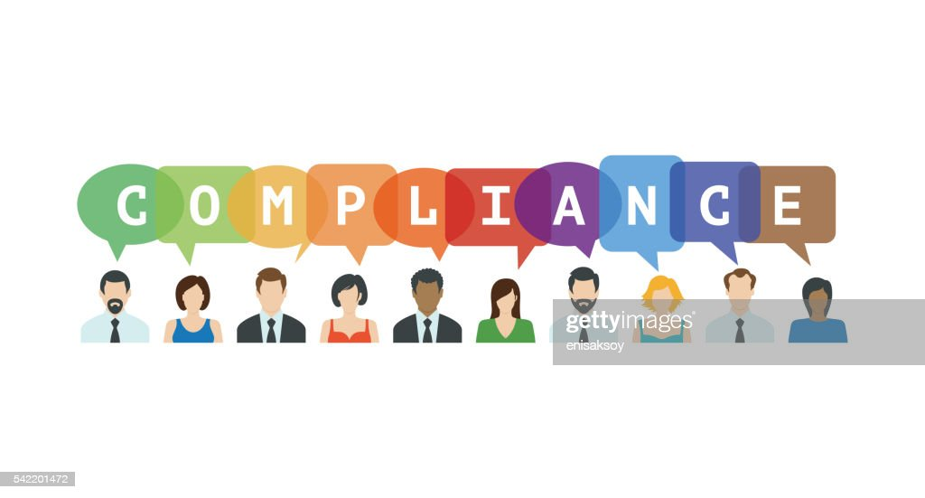 Compliance Concept. People icons with speech bubbles : stock illustration