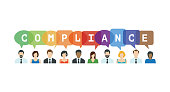 Compliance Concept. People icons with speech bubbles