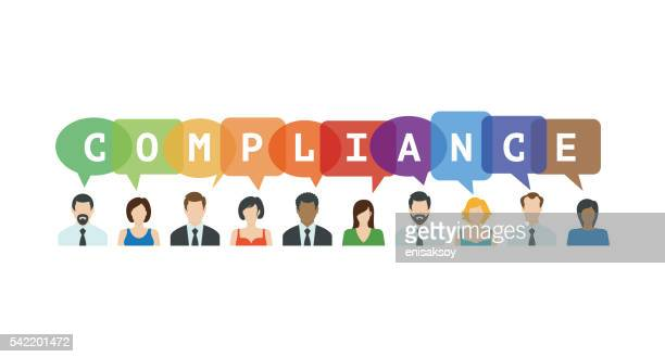 compliance concept. people icons with speech bubbles - permission concept stock illustrations