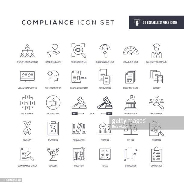 illustrazioni stock, clip art, cartoni animati e icone di tendenza di compliance editable stroke line icons - politics
