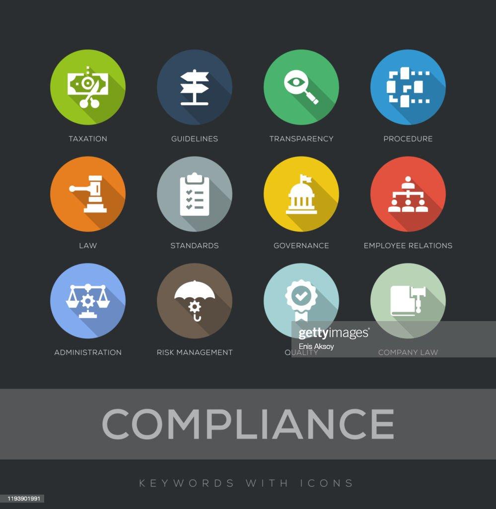 Compliance Flat Design Icon Set : Stock Illustration