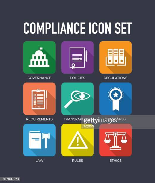 Compliance Flat Icon Set