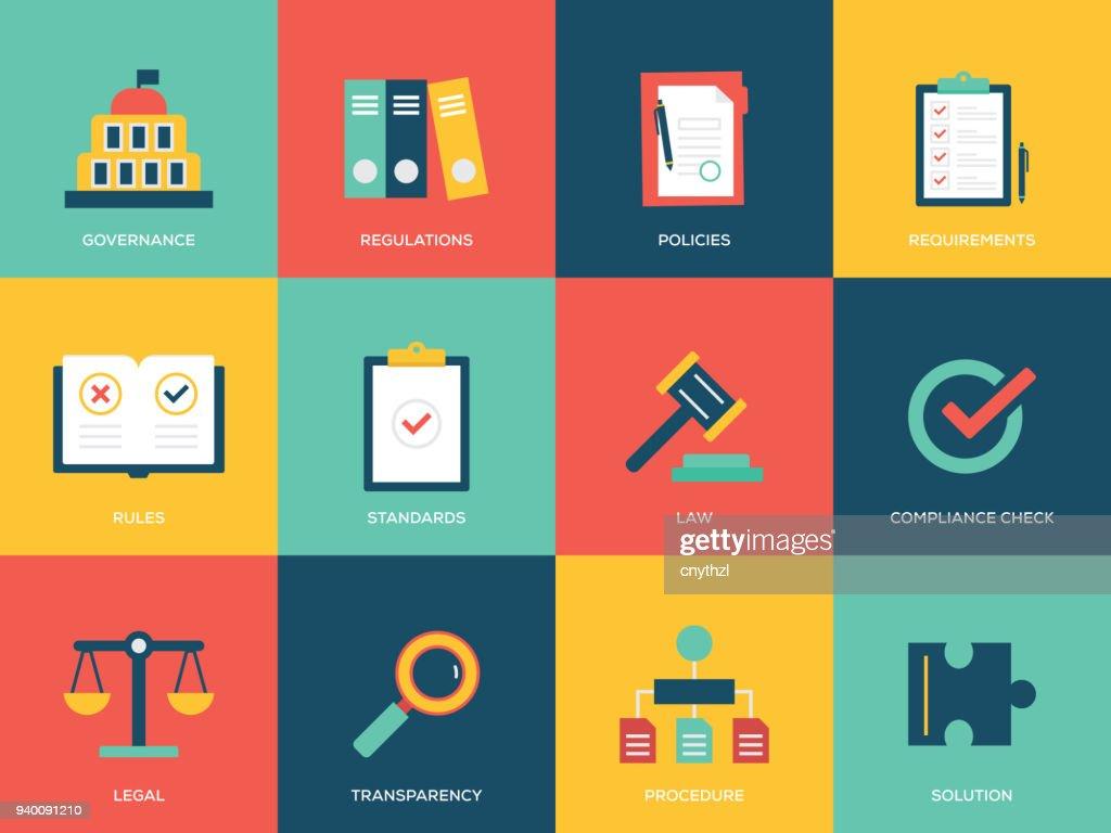 Compliance Flat Icons Set : stock illustration