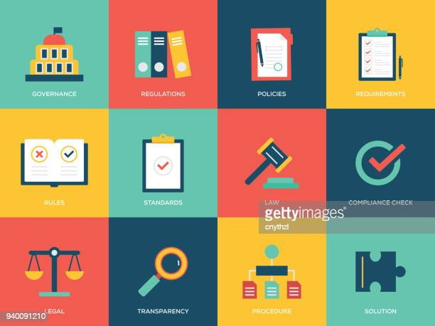 compliance flat icons set - strategy stock illustrations, clip art, cartoons, & icons