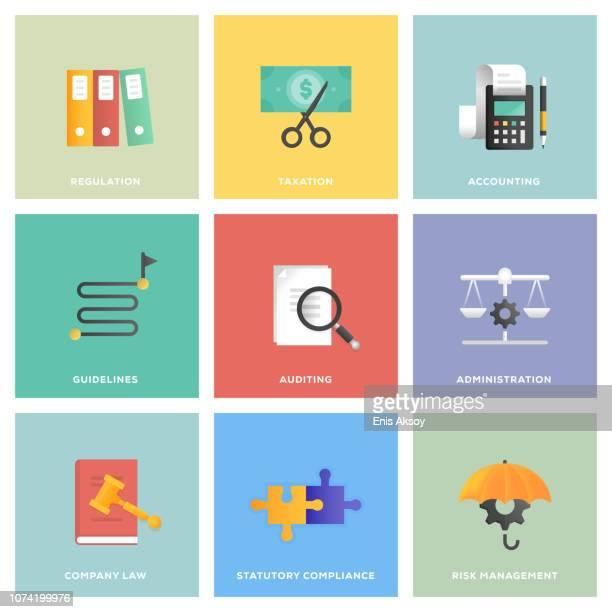 compliance icon set - accountancy stock illustrations