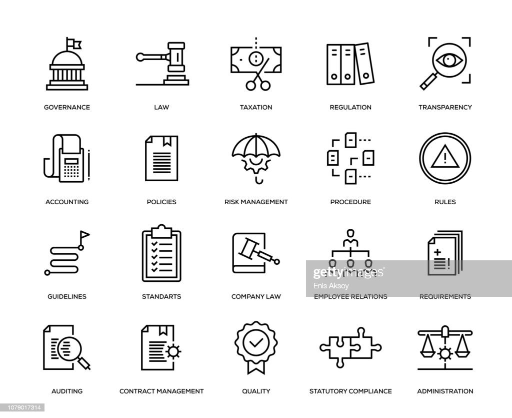Naleving Icon Set : Stockillustraties