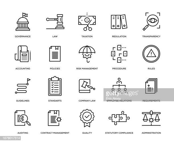 compliance icon set - organisation stock illustrations