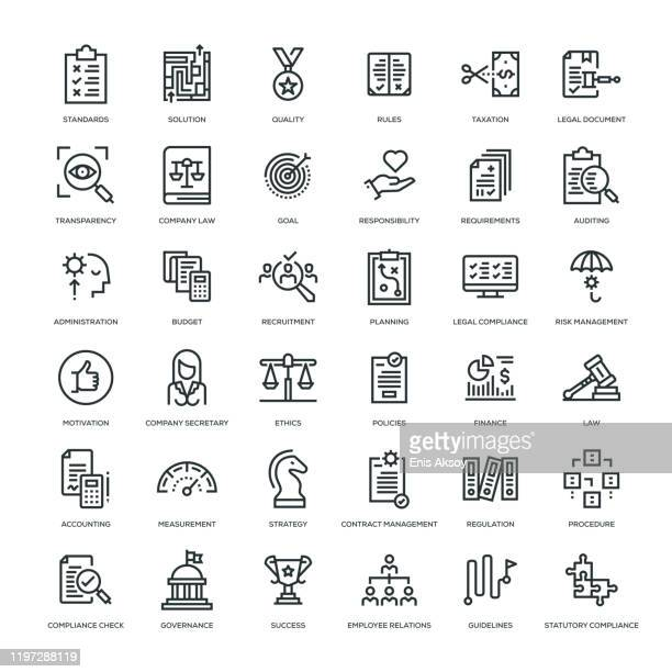 compliance icon set - risk stock illustrations